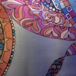 hand painted silk scarf with zen pattern