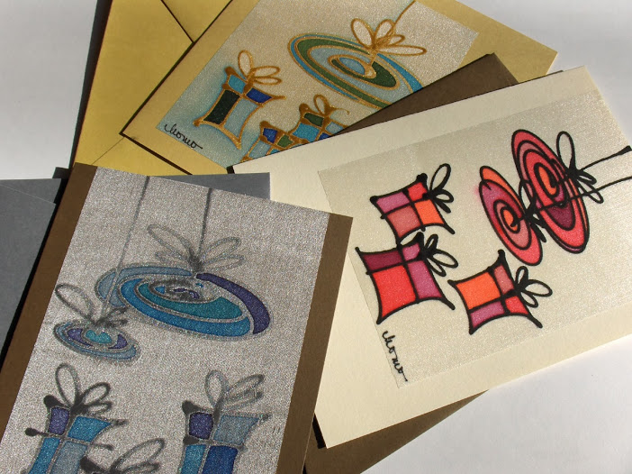 hand painted pure silk postcards
