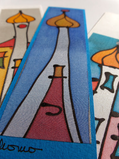 hand painted pure silk bookmarks